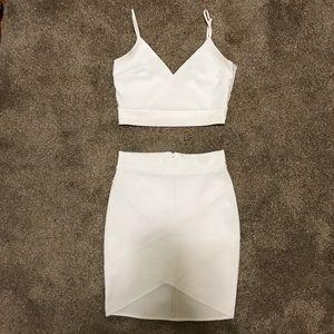 Blanc White Two Piece Midi Dress